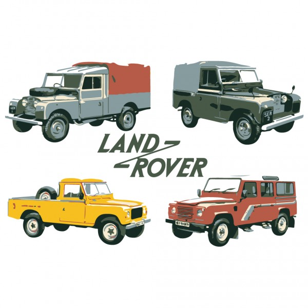 Four Land Rovers