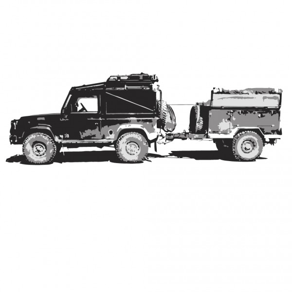 Land Rover Defender Pulling Trailer